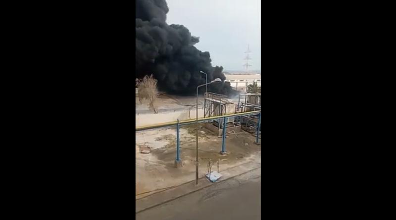حريق هائل في معمل الزفت بقابس