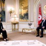 رئيس الجمهورية قيس سعيّد وزيرة الخارجية والتعاون الدولي بحكومة الوحدة الوطنية الليبية السيّدة نجلاء المنقوش